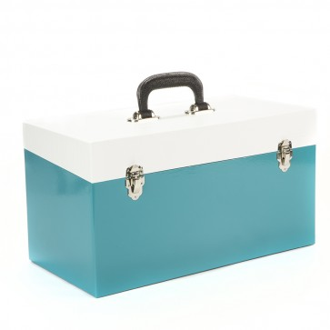 NEW Large Double Blue & White 45 Record Box